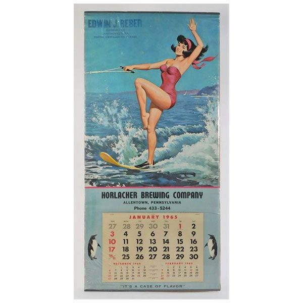 1965 pinup calendar horlacher brewing company advertising