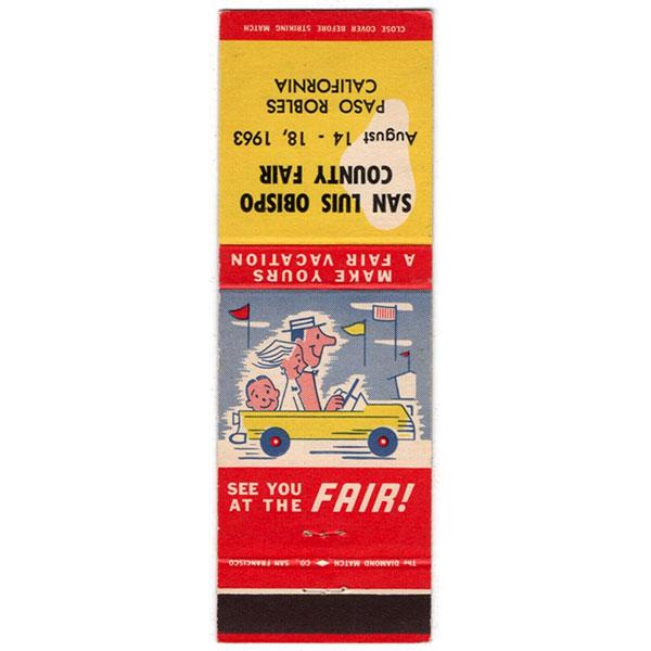 san luis obispo california county fair match cover 1963