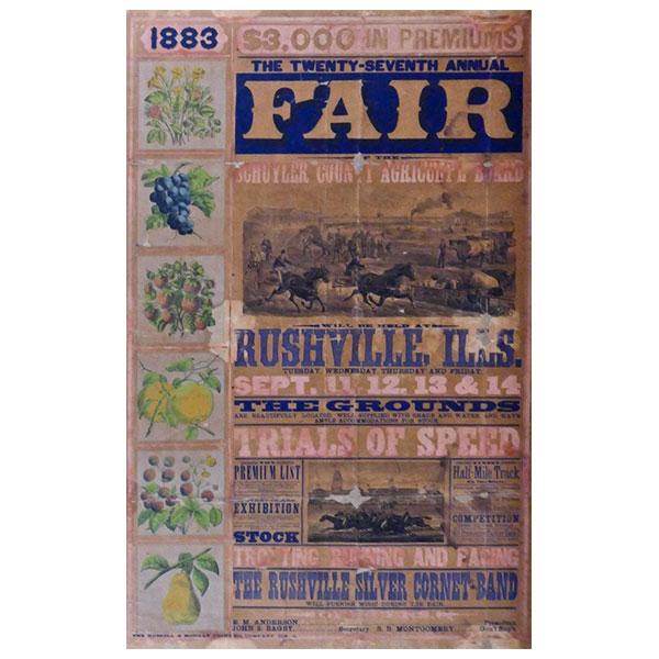 rushville illinois schuyler county fair 1883 poster
