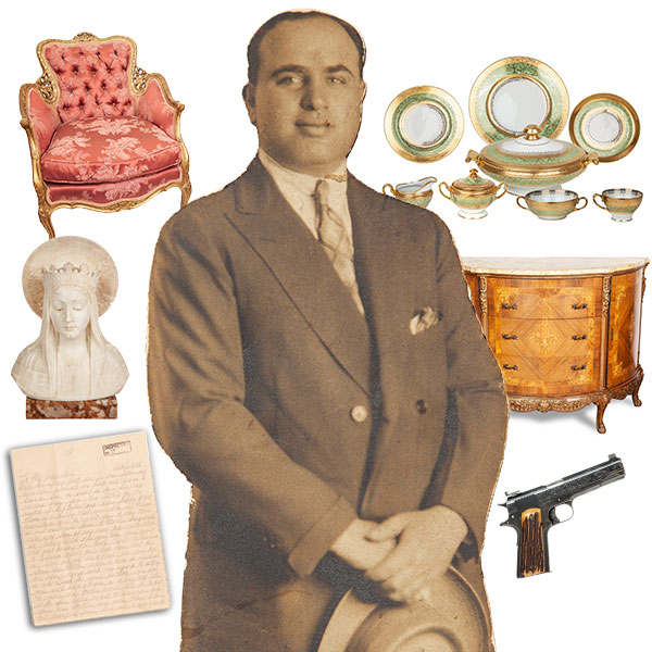 collage of personal items in al capone sale at witherells auction in october 2021