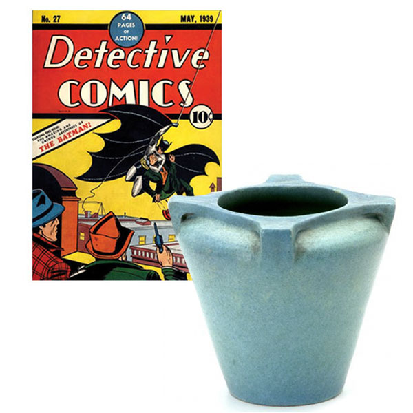 comic book and art pottery vase