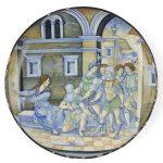 istoriato maiolica samson and delilah italian 1520-1523 dish
