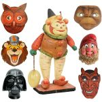 vintage halloween vegetable man candy container and masks